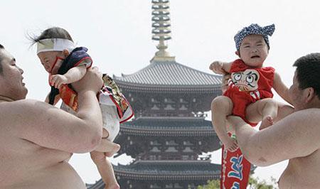 """奇风异俗:日本""""婴儿啼哭大赛"""""""