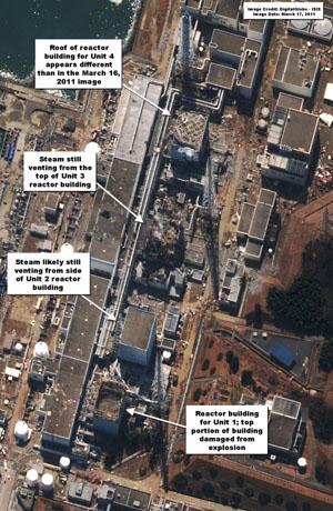 美国民间机构公布最新福岛第一核电站卫星照片