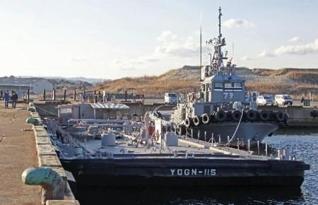 美军驳船进入小名浜港 将为核电站补给淡水