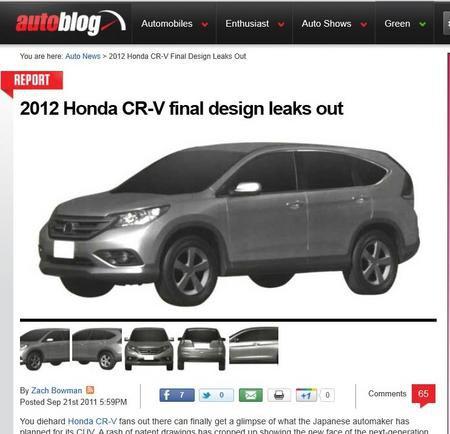 本田新款CR-V汽车设计图曝光