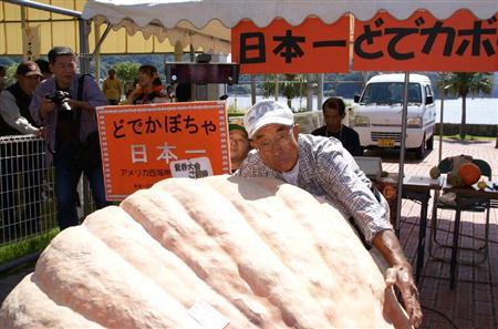 第25届日本第一超大南瓜大会举行 夺冠南瓜重达423.8公斤