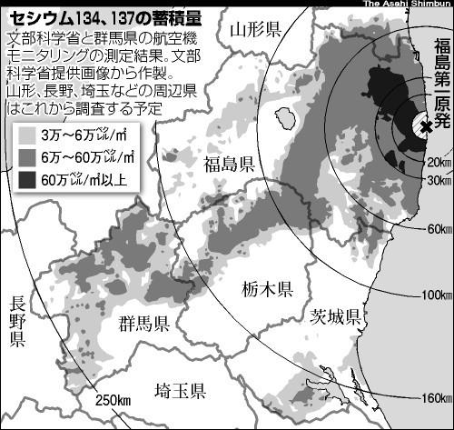 文部科学省公布福岛核电站周边地区的辐射量地图