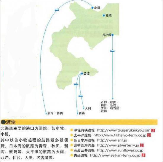 至北海道的交通信息图
