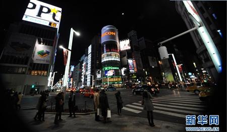 朦胧夜色下东京银座的特有气质