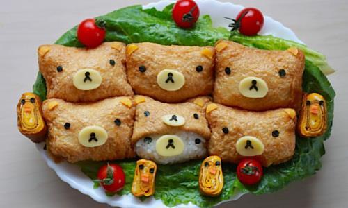 """可爱的""""轻松熊油炸豆腐寿司""""做法"""