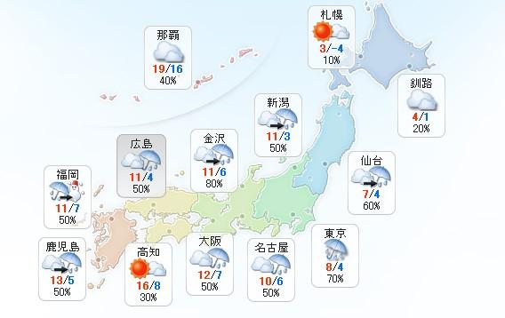 日本全国天气一览