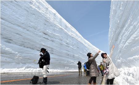 """日本阿尔卑斯山脉""""雪之大谷""""全线开乐福国际娱乐通"""