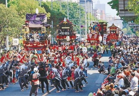 """仙台青叶祭为""""令和""""时代巡游 人流高达97万"""