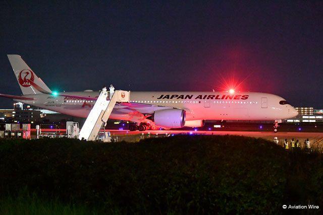 日本航空新客机A350抵达福冈并进行适配检查