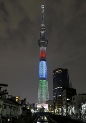 东京残奥会开幕倒计时1周年,日本东京天空树举行灯光演出