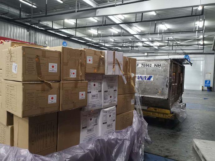 日本第五班撤侨包机,为武汉送来新一批援助物资