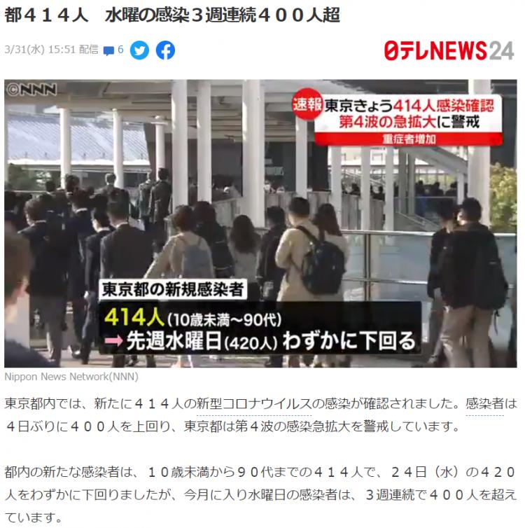 日本确诊数攀升 多地面临第4波疫情